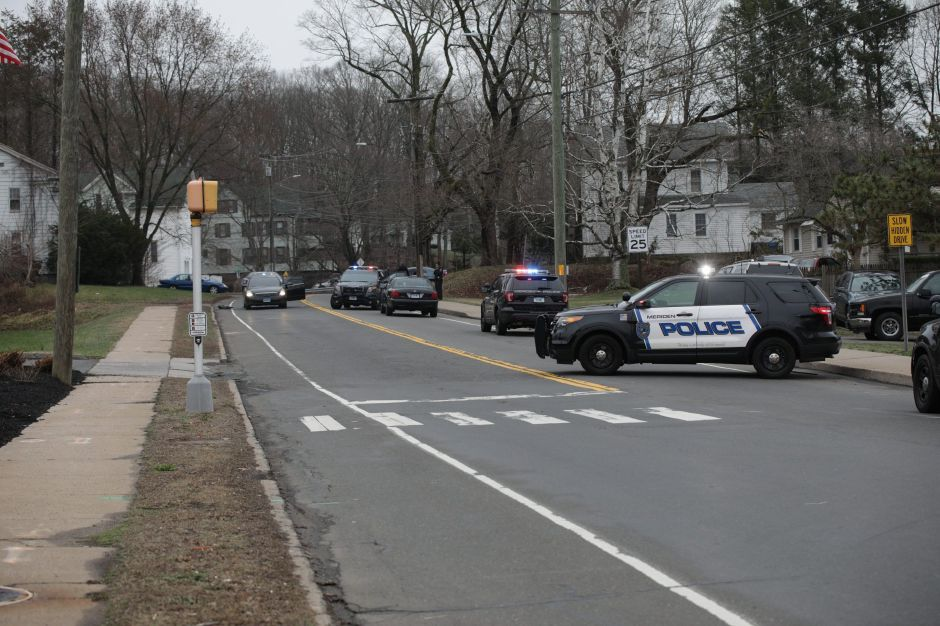 Meriden police closed down Kensington Ave. on April 9, 2019 in the vicinity of Lewis Ave. after receiving a report that two people were struck by gunshots. | Mike Savino, Record-Journal
