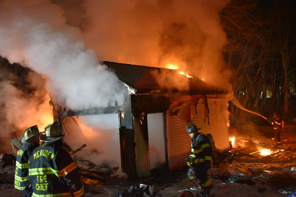 Fire rages Sunday night at a garage at 206 Gale Ave. in Meriden.Courtesy of Michael Quinn