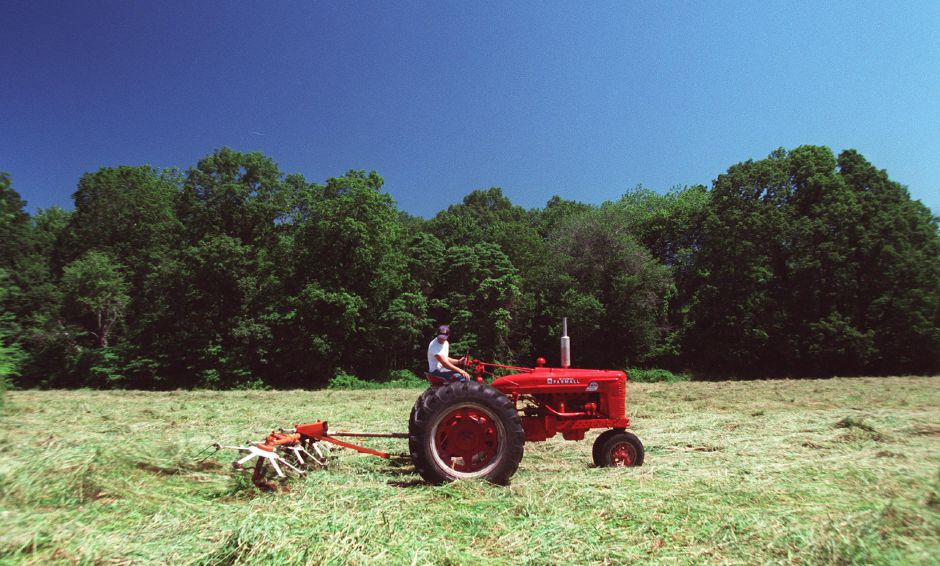 Josh Toucey, 17, of Cheshire, drives a tractor that is tedding a field of hay off of Parker Avenue in Wallingford July 5, 2000. Tedding means to spread or scatter newly cut grass for drying as hay.