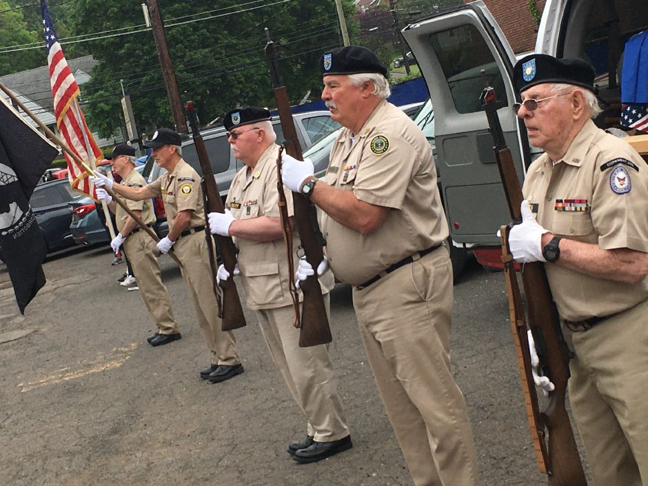 Members of the Antique Veterans of Meriden Honor Guard posts the colors at the Memorial Day service at  American Legion Post 45 in Meriden.Lauren Takores, Record-Journal