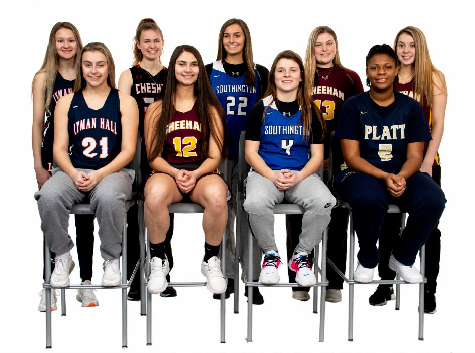 Introducing the 2019-20 All-Record-Journal Girls Basketball Team. In the back row, left to right, are Lyman Hall's Hailey Bruneau, Cheshire's Emma Watkinson, Southington's Kelley Marshall and Sheehan teammates Caitlyn Hunt and Maddie Larkin. In the front row, left to right, are Lyman Halls Brianna Mik, Sheehan's Caitlyn Velez, Southington's Livvy Pizzitola and Platt's Ja