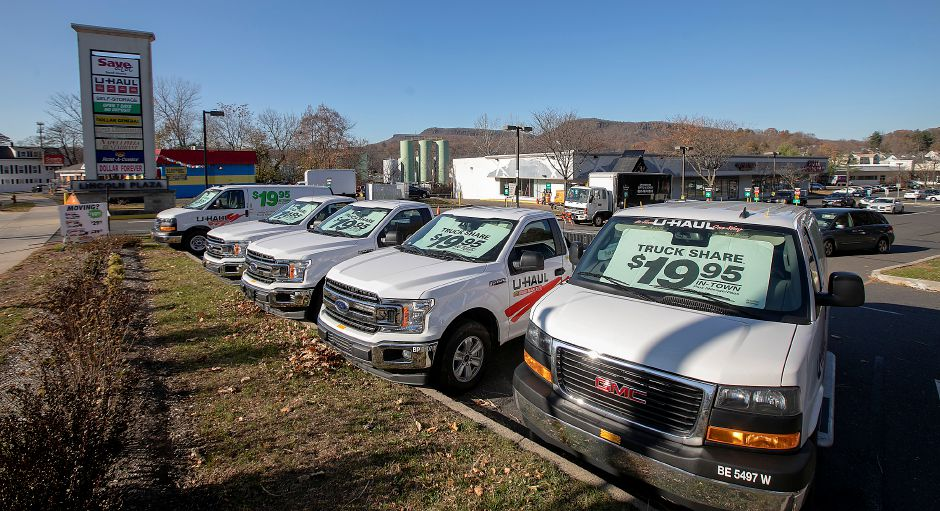 Moving trucks and vans at the new U-Haul at Lincoln Plaza, 311 W. Main St, Meriden, Fri., Nov. 15, 2019. U-Haul opened a 5,000 square-foot retail and rental store in Lincoln Plaza and will add 200 self-storage units in empty store fronts in the rear. Dave Zajac, Record-Journal
