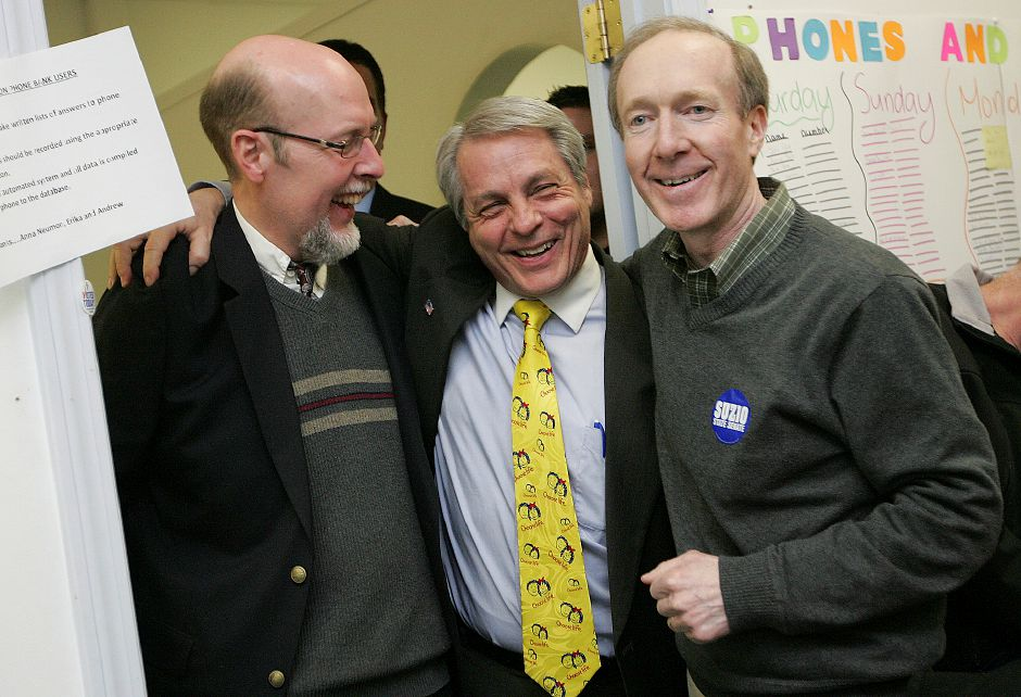 Senator elect Len Suzio (middle) is congratulated by Senator Joe Markley (left) and campaign manager Tom Scott (right), after winning the 13th District special election in Meriden on Tuesday February 22, 2011. (Matt Andrew/ Record-Journal)
