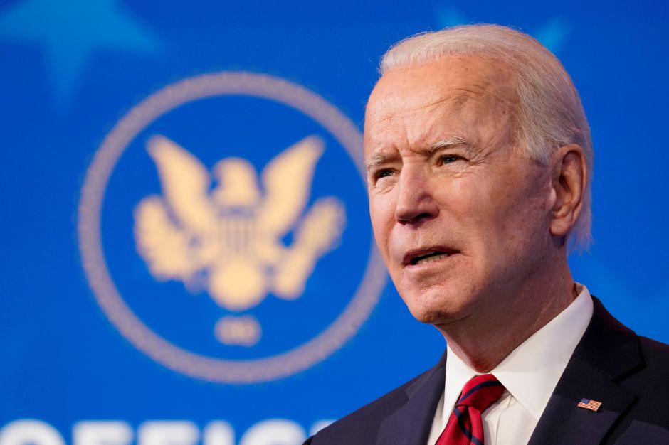 In this Jan. 15, 2021 file photo, President-elect Joe Biden speaks during an event at The Queen theater in Wilmington, Del. (AP Photo/Matt Slocum)