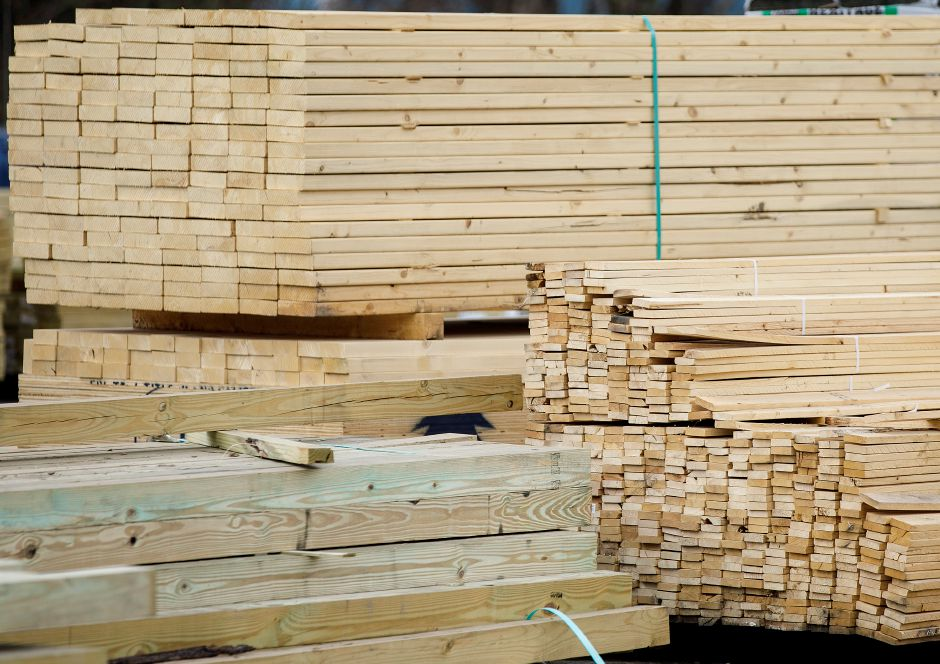 Lumber stacked at Lyon & Billard Lumber Co. in Meriden, Wed., Apr. 14, 2021. Soaring lumber prices and long delays in shipping materials are disrupting construction and renovation projects. Dave Zajac, Record-Journal