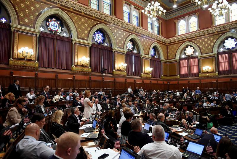 The House of Representatives on the final day of session at the State Capitol, Wednesday, June 7, 2017, in Hartford. (AP Photo/Jessica Hill)