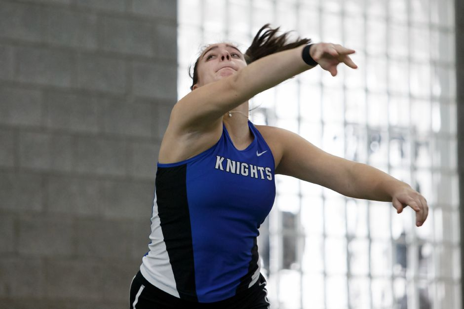 Southington senior Trinity Cardillo won the shot put at the Yale Invitational at Coxe Cage with a throw of 42-10. | Record-Journal file photo