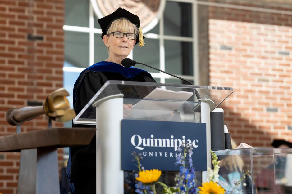 Lisa Sanders addresses the graduates of the Frank H. Netter MD School of Medicine on Tuesday.Photo by Autumn Driscoll, Quinnipiac University
