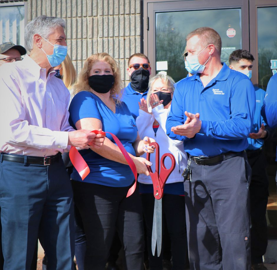 Douglas Mechanical Services celebrated its expansion on March 7, 2021. The Berlin business offers heating, air conditioning, ventilation, and remodeling services and now produces its own sheet metal | Nadya Korytnikova, Record-Journal.l | Nadya Korytnikova, Record-Journal.