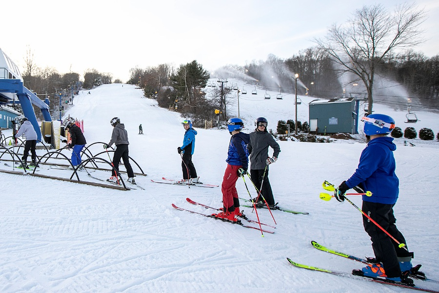 Skiers line up at the lifts on opening day at Mount Southington, Thurs., Dec. 12, 2019. Mount Southington opened Thursday with Northstar, Dom