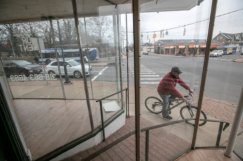 View of Center Street, left, and Route 5 from inside a building at 4 Center St. in Wallingford, Thurs., Dec. 26, 2019. The building was recently purchased by a Wallingford couple who plan to fix it up and rent it out, but there are no prospective tenants yet. The building was erected in 1900 and is zoned as mixed residential and commercial use. Dave Zajac, Record-Journal