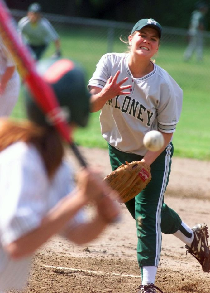 Maloney softball pitcher Kate DuBois in action during a game against Hamden at Falcon Field June 1, 1999.