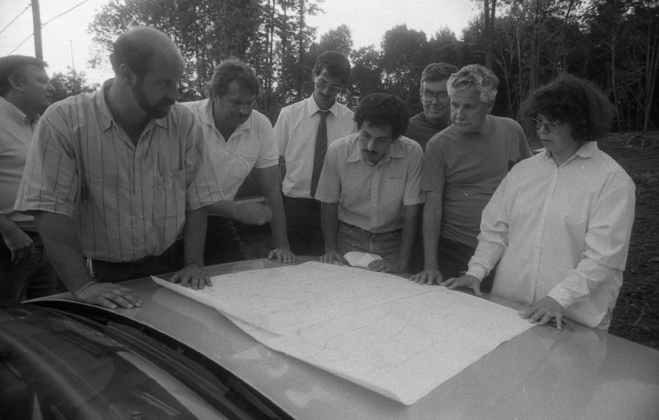 RJ file photo - Members of the Southington Conservation Commission and development officials review the Village Estates plans during a tour of the site Aug. 30, 1989.