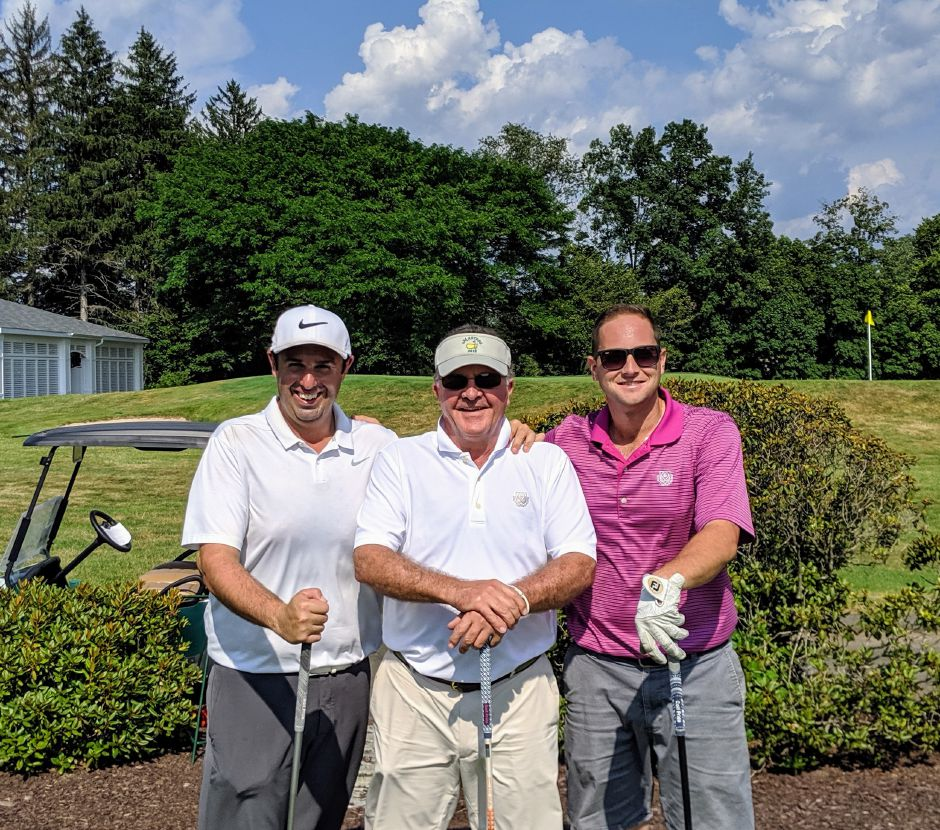 From left, Marc Bayram (Timberlin Golf Club head pro), Tim Gavronski (Shuttle Meadow Country Club head pro), James Giampoalo (Shuttle Meadow assistant pro).