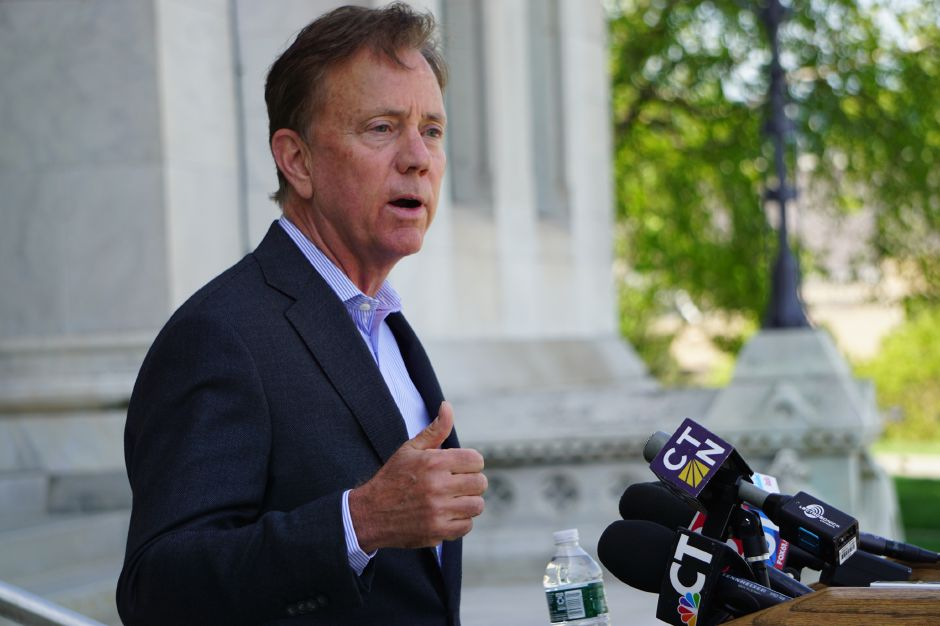 Gov. Ned Lamont announced the dissolution of the Partnership for Connecticut on Tuesday morning in a hastily arranged press conference at the Capitol. | Cloe Poisson, CT Mirror