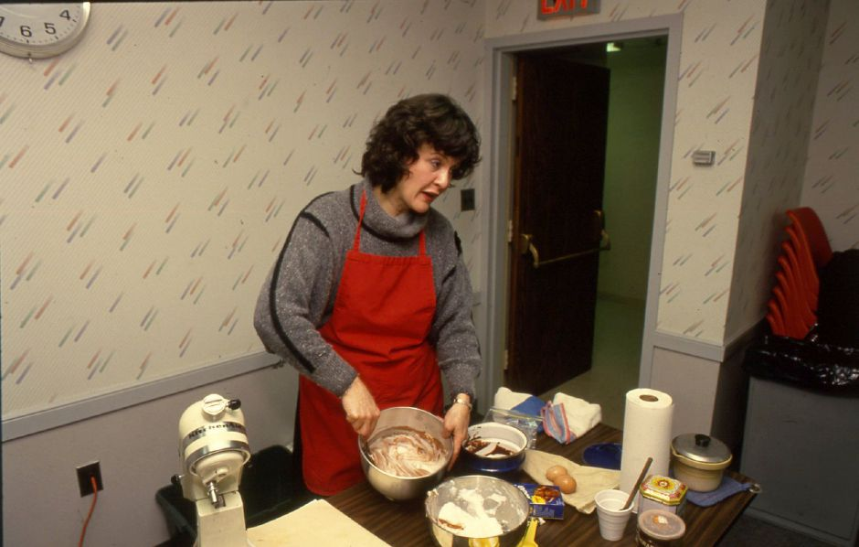 RJ file photo - Marie Porier whips up a chocolate delight at a demo for the Southington Library Jan. 11, 1994.