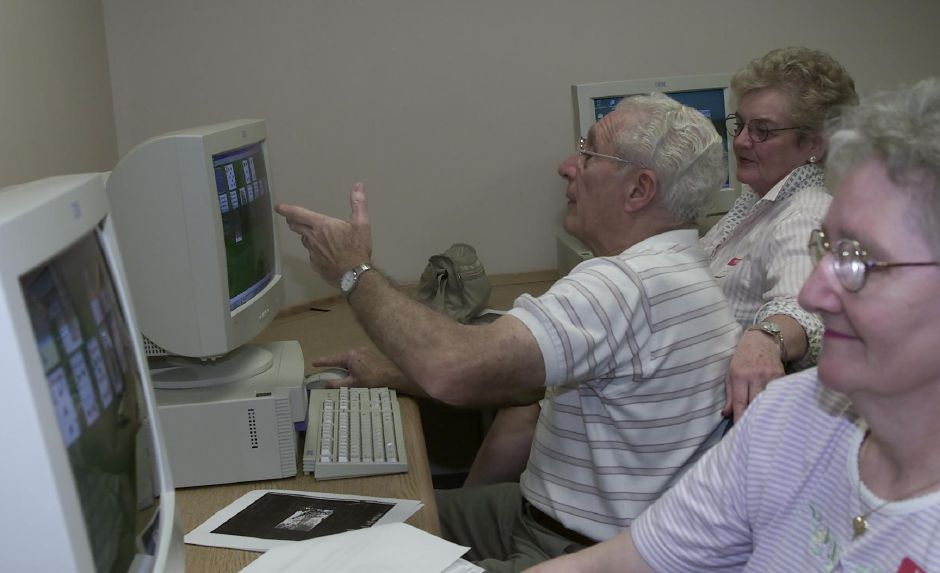 The new computer center at the Meriden Senior Center opened on Monday Aug. 3, 2000, from left to right are Shirley Massicott, Libby Cerasale, and Jeanne Verselli, all are taking one of the offered classes to learn computer basics.