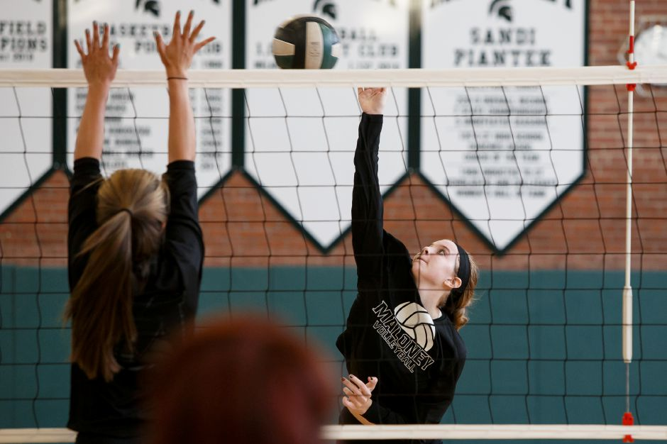 After missing her junior season to injury, Maloney senior hitter Madison Clancy returns to action this fall for the Spartans. | Justin Weekes / Special to the Record-Journal
