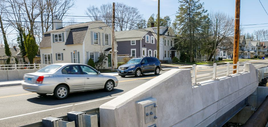 Motorists travel over the Center Street bridge in Wallingford, Wed., Apr. 7, 2021. Neighborhood residents and motorists may see work crews back at the Center Street bridge this month. Dave Zajac, Record-Journal