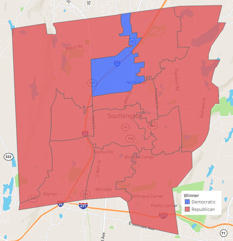 Southington voting district map showing the major politcal party vote totals for town council candidates in 2013.