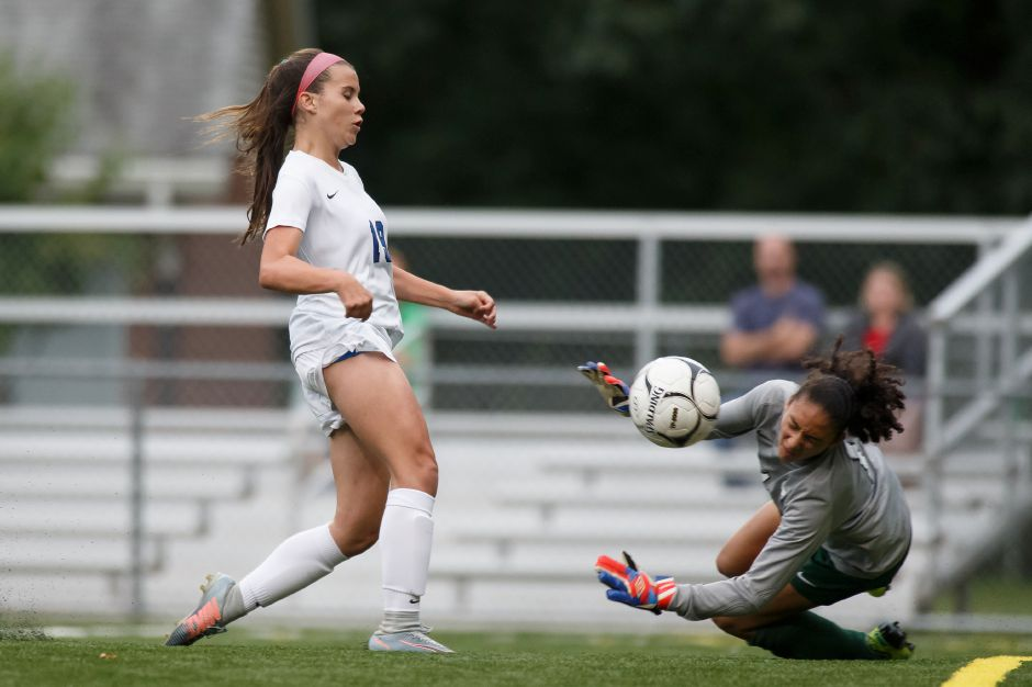 Maya Wroblewski had one goal and an assist in Southington's 3-0 CCC West-Colonial Division soccer victory over Northwest Catholic on Wednesday. Wroblewski and the Lady Knights are 8-0. | Justin Weekes / Special to the Record-Journal