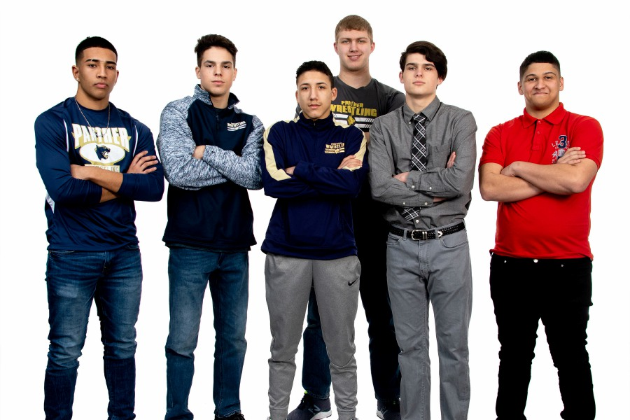 All-Record-Journal wrestlers from Meriden included, left to right, Cristian Calero, Mathew Merrigan, James Rondini and Luke Fuerstenberg of Platt, along with Kody Talento and Darel Rivera of Maloney. Not pictured: Isaiah Ross of Platt and R.J. Plumberg of Maloney.  Aaron Flaum, Record-Journal