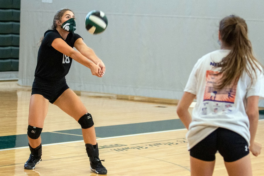 Maloney's Savannah Bernbucci bumps the ball during volleyball practice at the high school on Thursday, September 10, 2020. Aaron Flaum, Record-Journal