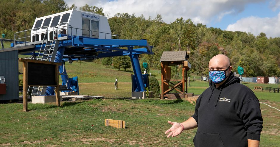 Brian McCloskey, guest services and marketing manager, talks about social distancing and other precautionary measures Mount Southington is taking for the upcoming ski season, Wed., Sept. 30, 2020. Dave Zajac, Record-Journal