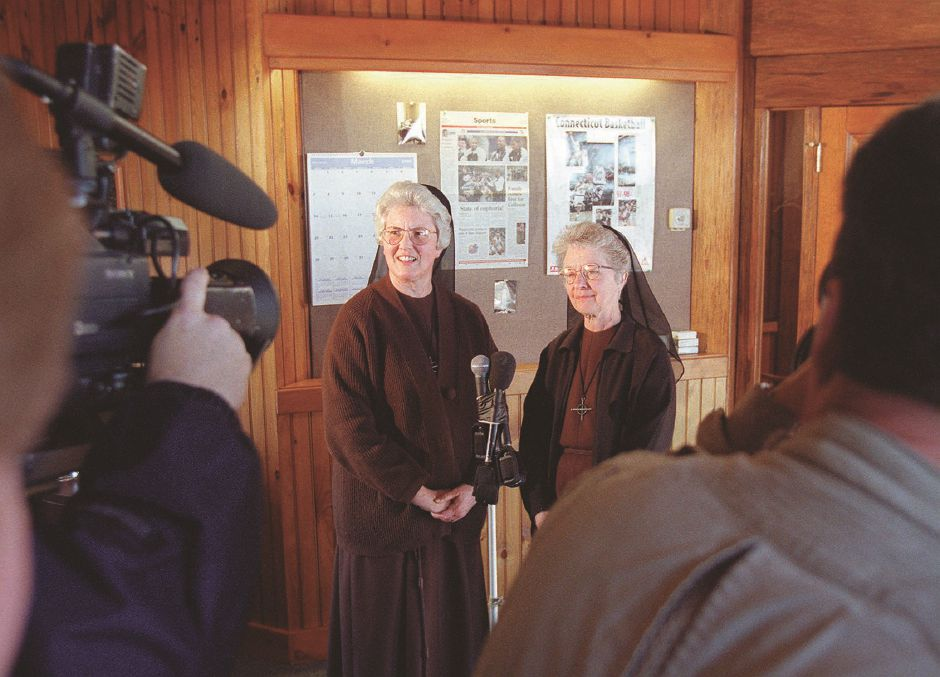RJ file photo - Sister Mary Richards, left, and Mother Shaun Vergauwen talk to reporters at the Franciscan Life Center in Meriden March 25, 1999.