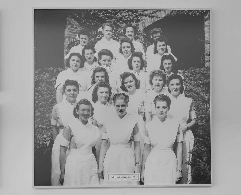 A photo of cadet nurses taken in September of 1946 hangs on the wall at MidState Medical Center in Meriden, Tuesday, May 15, 2018. Dave Zajac, Record-Journal