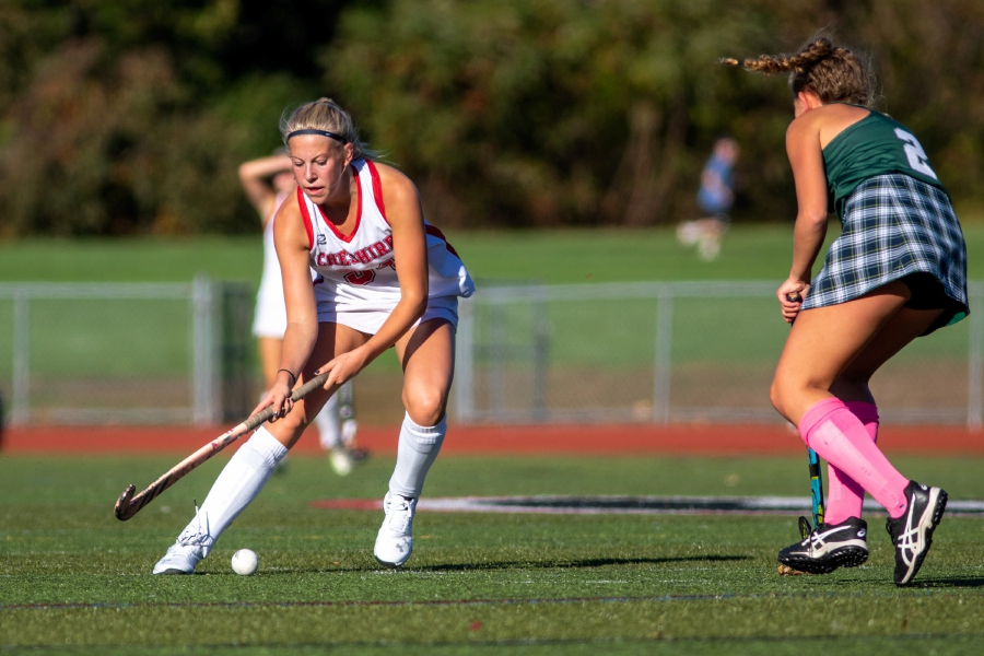 Emily Curtis focuses on the ball during Cheshire's game against Guilford on Oct. 8. Curtis had one of the goals in Cheshire's 3-1 victory, a decision that snapped Guilford's 33-game winning streak. Aaron Flaum, Record-Journal