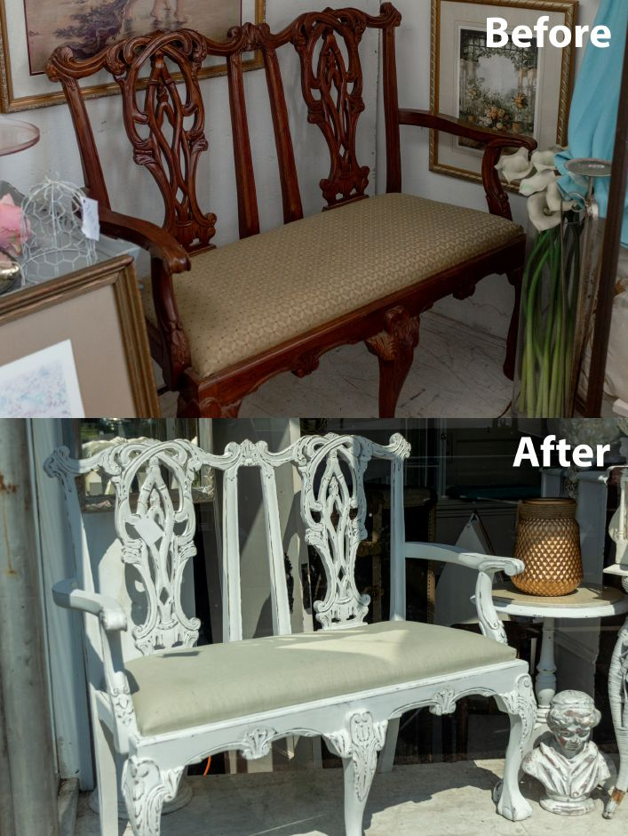 At their shop in Southington, sisters, Paula and Darlene Charneco of Meriden, upcycle old outdated furniture using paint. Here is an example of a bench which was painted, worn and re-upholstered to give it a more modern feel. - at 2 Sister