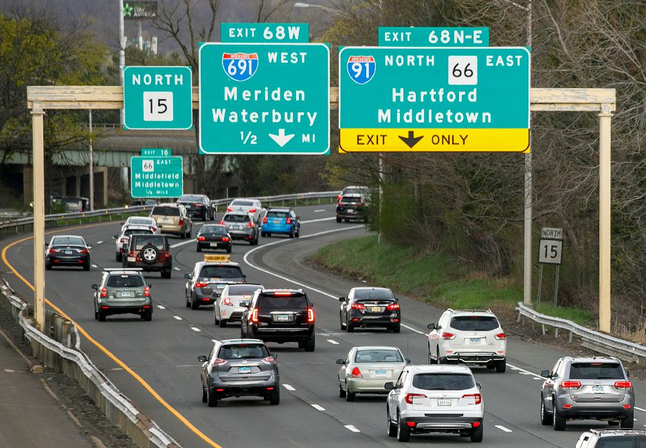 Traffic builds near the junction of interstates 691, 91 and Route 15 in Meriden, Mon., Apr. 19, 2021. A $300 million plan to improve the convoluted traffic triangle at the junction of interstates 691, 91 and Route 15 has been divided into three phases. Dave Zajac, Record-Journal