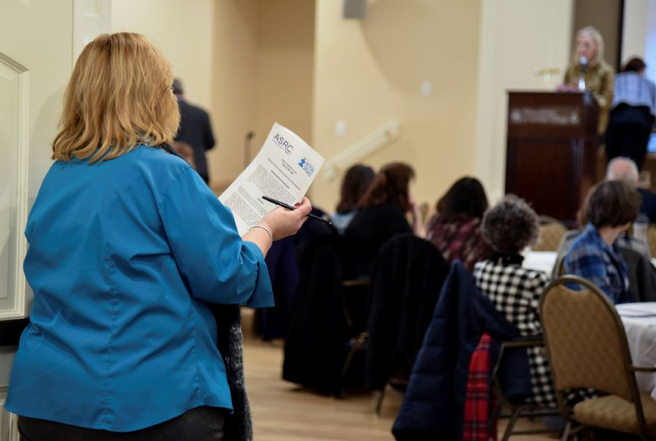 Community members gatherd at an Autism Speaks and Autism Services & Resources Connecticut forum on autism transitioning at Masonicare at Ashlar Village in Wallingford on Saturday, Feb. 8, 2020. | Bailey Wright, Record-Journal