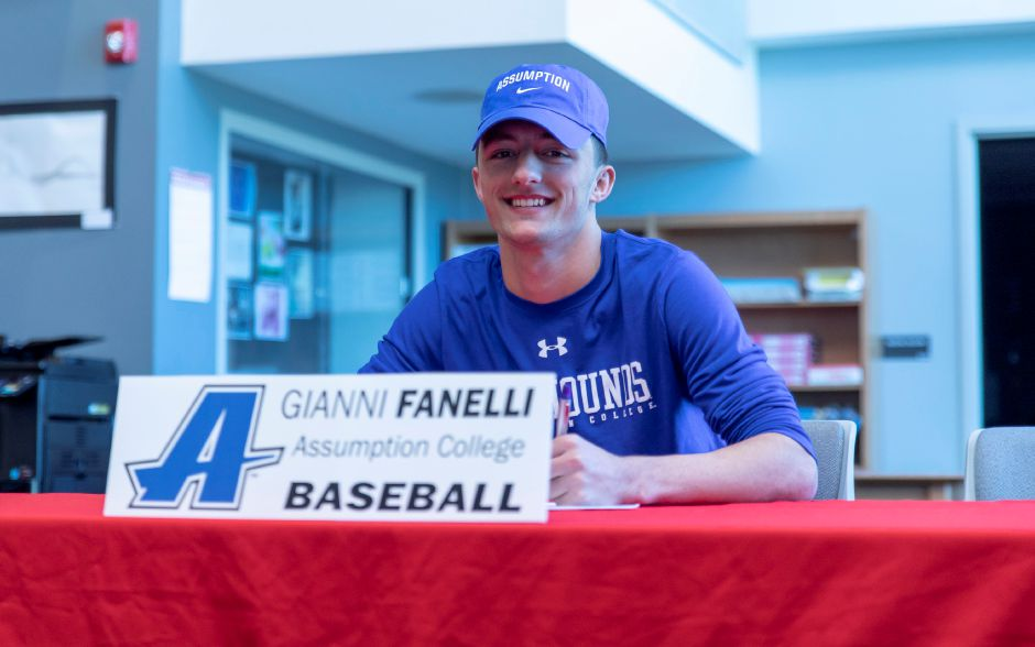 Gianni Fanelli was one of three Berlin High School athletes who signed letters of intent to move onto college level sports during an April 4, 2019 ceremony. Finaelli will play baseball at Assumption College. | Devin Leith-Yessian/Berlin Citizen