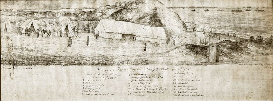 A drawing of the Hospital of the Independent Battalion New York Volunteers is seen here on Tuesday at the Wallingford Historical Society. Surgeon Harrison's tent is seen second from left. Dave Zajac, Record-Journal