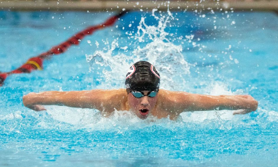 Cheshire's Justin Finkel had a breakout season as a junior. He placed second in the SCC in the 500 freestyle and third in the 100 butterfly. Aaron Flaum, Record-Journal