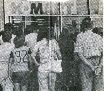"August 1976: K-Mart opened in the Wallingford Plaza at 9:30 in the morning, and the first shoppers ""pressed the doors of the new discount store... eager to examine the new wares and take advantage of opening day bargains,"" according to a Record-Journal story. 
