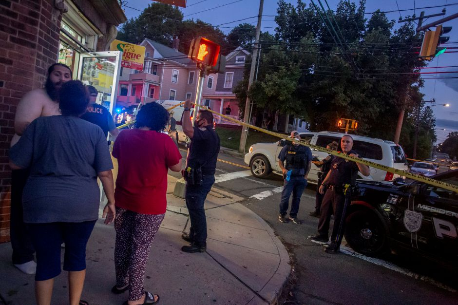 Meriden police investigate after a shooting on Olive Street near the intersection with Crown Street Wednesday night Aug. 19, 2020. | Richie Rathsack, Record-Journal