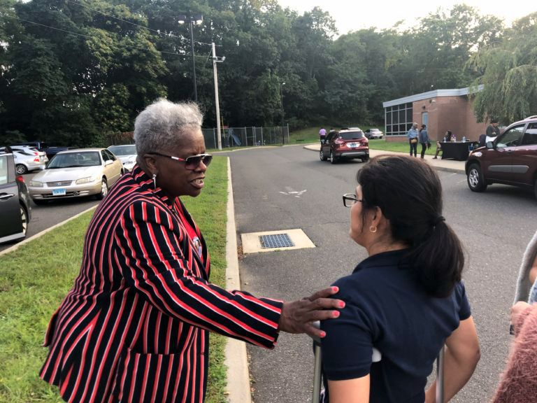 Sen. Marilyn Moore campaigning in a race for mayor last year. | Kelan Lyons, CT Mirror