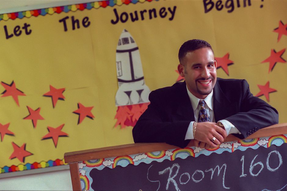 RJ file photo - Miguel Cardona, first-time teacher, in his fourth-grade classroom at Israel Putnam School, Aug. 1998.