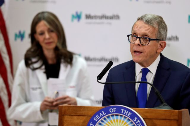 Ohio Governor Mike DeWine gives an update at MetroHealth Medical Center on the state
