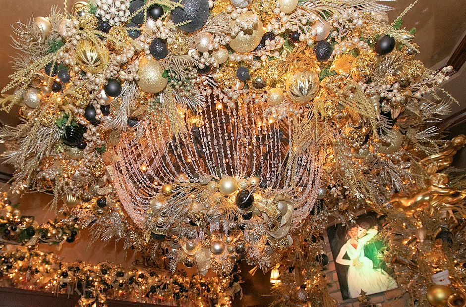 A giant chandelier featured in the Phantom of the Opera themed room at Cava Restaurant on West Street in Southington, Tues., Nov. 20, 2018. The business features an elaborate holiday display annually. Dave Zajac, Record-Journal