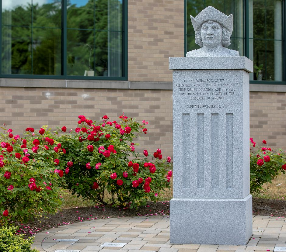 The Christopher Columbus monument in front of the Town of Southington John Weichsel Municipal Center, Thurs., Jun. 18, 2020. Dave Zajac, Record-Journal