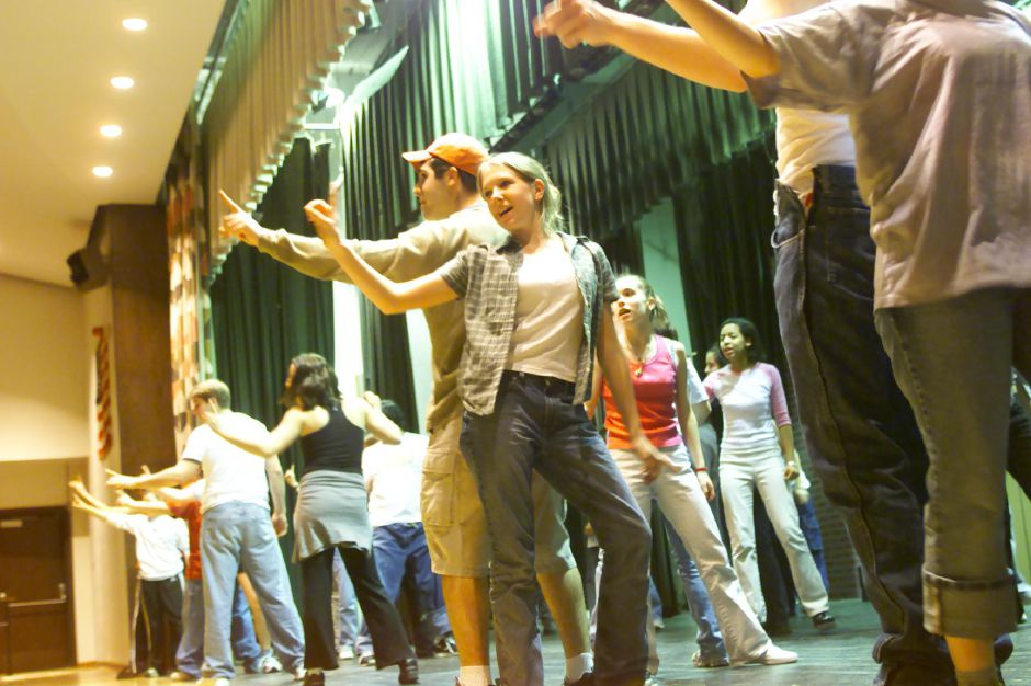 "Rehearsal for ""Grease"" at Sheehan High School on Monday April 3, 2000 . In front are one of the Pink Ladies, ""Marty"" played by Christine Kahl and one of the Burger Boys, ""Kenickie"" played by Tony Romano."