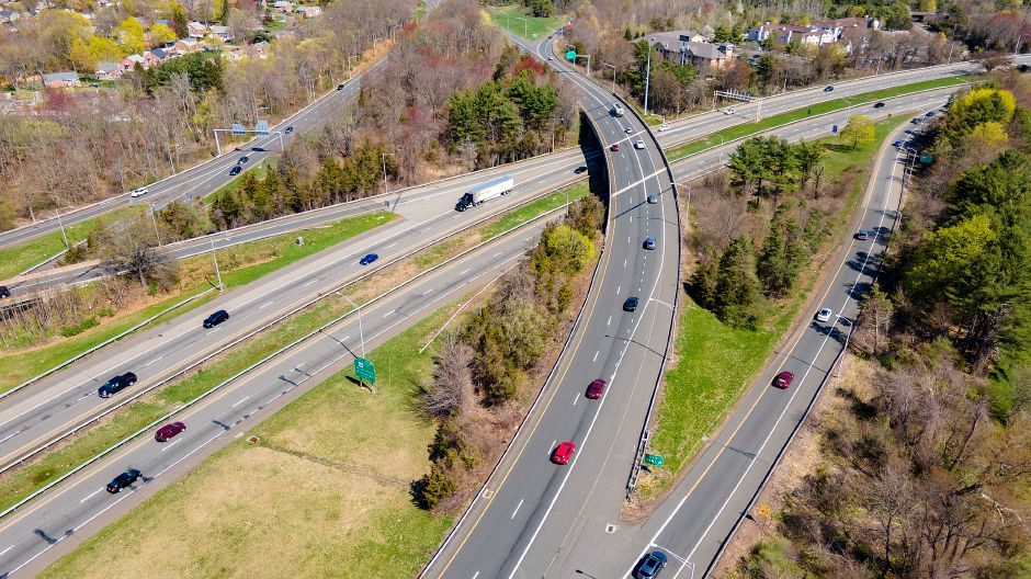 View looking northwest shows motorists traveling on interstates 691, 91 and Route 15 in Meriden, Mon., Apr. 19, 2021. A $300 million plan to improve the convoluted traffic triangle at the junction of interstates 691, 91 and Route 15 has been divided into three phases. Dave Zajac, Record-Journal