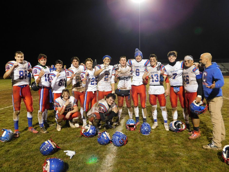 Juniors on the Coginchaug co-op football team are pictured after a game. Photo courtesy of Erik Becker