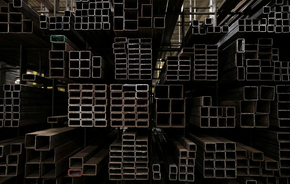 Racks of various steel stock at Logan Steel in Meriden, Monday, March 12, 2018. Industry reactions to President Trump's implementation of a 25 percent tarfff on steel imports and 10 percent on aluminum are mixed depending on the use and product. Dave Zajac, Record-Journal