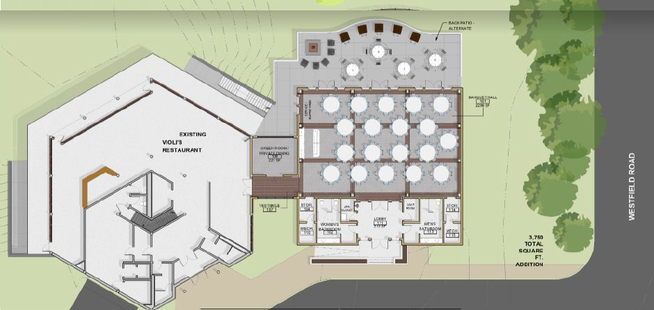 The revised plan for the proposed banquet facility at Hunter
