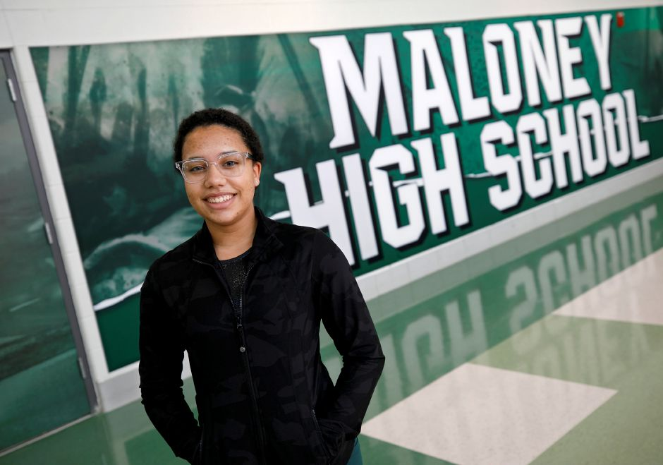 "Freshman Jenessa Green, 14, at Maloney High School. Green competes with Wethersfield as a ""team of one"" representing Maloney. Green also trains and competes with Connecticut Gymnastics Academy in Wallingford. Dave Zajac, Record-Journal"